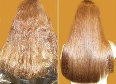 До и после бразильского выпрямления волос
