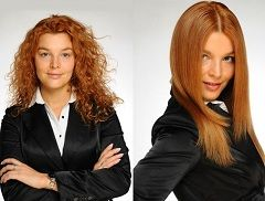 До и после химического выпрямления волос